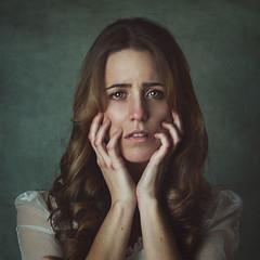 Marta (Teresa R. Photo) Tags: girl woman sad cry portrait pose hands despair emotion emotive emotions feeling feelings stare look green blonde painterly chica retrato triste manos ojos pena tristeza emocion