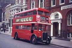 London Transport . RT 1527 KGU241 . Vauxhall Bridge Road  , Victoria , London . August-1969 . (AndrewHA's) Tags: bus londontransport aec regent weymann rt 1527 kgu241 route 185 victoria greenwich church tram replacement 58