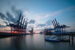 Waltershofer Hafen (T.Seifer : )) Tags: colours longexposure sunset clouds view waterfront cloudscape sky lines outdoors tourism waltershof nikon marina moored pier quayside bluehour harbour hamburg