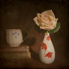 Still Life (DayBreak.Images) Tags: tabletop stilllife vase flower rose vintage antique books tea cup canondslr lomography neptune thalassa 35mm genaraytorpedo manfrottolumimuse photoscape texture