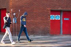 Money Clothing (stevedexteruk) Tags: chinatown soho london brick wall street art mural robot firestation uk 2019 waving wave fireexit fireescape