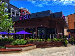 CRU Restaurant | The Battery | Atlanta (steveartist) Tags: restaurants cru buildings plants trees walkways umbrellas iphonese snapseed photostevefrenkel sky clouds thebattery atlantaga apartments walls gardens