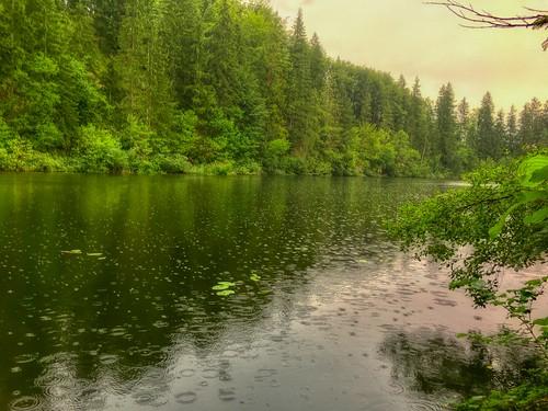 Summer rain on lake Egelsee in Tyrol, Austria