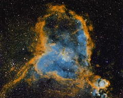 Heart Nebula in Narrowband (Ethan.WYH) Tags: heart nebula heartnebula ic1805 deepsky dso stars space nasa apod yello gold hues blue narrowband sho sii oiii ha hubble palette hubblepalette eso pictureoftheday
