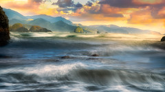 Tempest (In Explore August 10, 2019) (Rajesh Jyothiswaran) Tags: beach cannon ecola oregon pacificnorthwest pacificocean rugged sunset waves clouds mountains range scenic waveaction