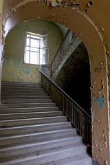 Insanatorium (Douguerreotype) Tags: berlin city abandoned derelict deutschland hospital buildings urban architecture urbex germany stairs window steps