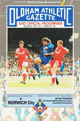 Oldham Athletic vs Norwich City - 1991 - Cover Page (The Sky Strikers) Tags: oldham athletic norwich city barclays league division one boundary park gazette official programme pound twenty