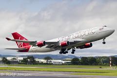 G-VXLG Boeing 747-400 Virgin Atlantic Glasgow airport EGPF 09.08-19 (rjonsen) Tags: plane airplane aircraft aviation airliner jumbojet queen skies takeoff departure liftoff rotation