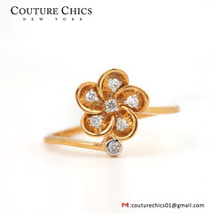 Natural Diamond Pave Flower Design Ring Solid 14k Yellow Gold Jewelry (couturechics.facebook1) Tags: natural diamond pave flower design ring solid 14k yellow gold jewelry