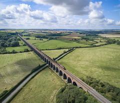 66194 on Welland Viaduct (robmcrorie) Tags: 66194 corby margin class 66 rutland welland viaduct harrongworth phantom 4 harringworth