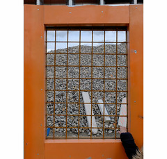 ] O R A N G E [ (michelle@c) Tags: urban urbanscape city cityscape worksite window grid frame heap stone wood hand plastic orange boulognebillancourt 2019 ©michellecourteau