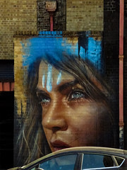 Rain Hoppers Are Falling On MY Head (Steve Taylor (Photography)) Tags: drainpipe garage clarestreet cambridgeheath downpipe rainhopper art graffiti mural portrait streetart blue black orange brown woman lady uk gb england greatbritain unitedkingdom london