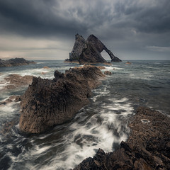 Turbulence (Andrew G Robertson) Tags: bow fiddle rock seascape sunrise sotrm wave portknockie coast scotland moray sea stack