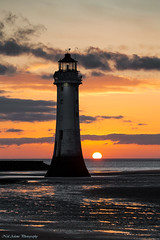 Perch rock lighthouse (Neil Adams Photography (Wirral)) Tags: sunset sun sunny backlight backlit lowlight lowkey beach sand lighthouse
