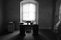 Governor's Office (sgreen757) Tags: hmp her majesties prison jail pen penitentiary shepton mallet jailhouse tours somerset england uk nikon d7000 empty abandoned urbex desk window governor office light