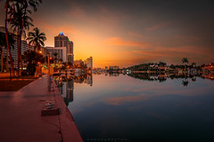 Early morning in Miami (dannygreyton) Tags: usa miami miamibeach sunrise longexposure longexposureshot canon canong1xiii florida reflection biscaynebay