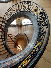 Down we go... (L Weiling) Tags: staircase museum architecture history unescoworldheritage france artnouveau wroughtiron stone marble