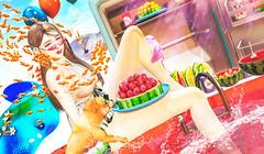 夏天的西瓜池 (imp朣) Tags: secondlife second life girl summer watermelon dog food fish manta glasses mbirdie jian yokai insomnia angel cx nomi bada