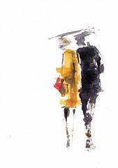 Dans les rues - Temps de pluie [20190714]-4 (rodneyvdb) Tags: art couple drawing ensemble ethereal fashion fleeting illustration ink love parapluie partners pluie rain street together umbrella