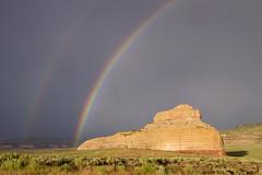 Desert Rainbow on Sandstone (aaronrhawkins) Tags: rainbow rock formation sandstone desert double bright rainstorm thunderstorm cloudy wet colorful nature beautiful moab monticello utah highway191 aaronhawkins