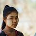Myanmar Woman Wearing Thanakha