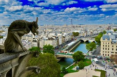 View of Paris from Notre Dame Cathedral (cjbphotos1) Tags: gargoyles notredame paris france europe eu north tower medieval vacation travel cathedral gothic architecture eiffel history historic river seine beasts fantastical steps climb view travels pont