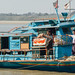 Blue Boat on Chindwin River Myanmar