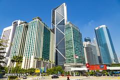 Skyscrapers of Kuala Lumpur, Malaysia. Petronas Twin Towers and other buildings XOKA7374bs