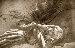 La farfalla addormentata - Sleeping butterfly (sketch) (Ladmilla) Tags: sl secondlife exhibition art artexhibition theedge theedgeartgallery leonardo leonardodavinci drawing sketch woman fairy sleepingfairy sleeping sleep sleepingwoman portrait wings digital digitalart gallery monochrome texturized textured