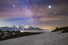 Mont Blanc from the ladies' Mont Blanc (Clément Brustel) Tags: mont blanc alps alpes mountains montagnes neige snow alpinism sky astronomy astronomie stars night long exposure sony ice landscape nightscape
