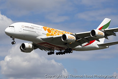 Emirates, A6-EOV :  EXPO 2020 (Thomas Naas Photography) Tags: england grossbritannien great britain london lhr egll flughafen airport flugzeug aircraft airplane aviatik aviation airbus a380 a388 a380800 werbung advertising spezialbemalung specialpaint emirates expo 2020 orange color