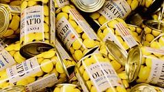 221-154 (mjlockitt) Tags: photojournal cans hemköp yellow green colours olives shopping consumerism