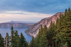 Crater Lake Sunset (Oleg S .) Tags: usa oregon sunset nature water mountains craterlake lake flickr cliff forest
