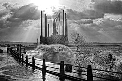 Excalibur Port Vila (Croydon Clicker) Tags: storm sea waves promenade fence water ocean sky cloud sunrays vessel crane barge newhaven sussex eastsussex nikon sigma