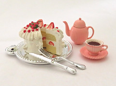 Special Cakes For Me # 6 (MurderWithMirrors) Tags: rement miniature food dessert pastry cake plate cup mwm tray knife fork tea teapot dish