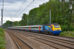 43081 + 43050 - Arlesey - 10/08/19. (TRphotography04) Tags: east midlands trains emt eleven years hst powercars 43081 43050 top tail 1z25 0802 leeds derby staff train farewell railtour