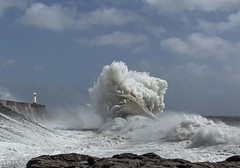 The Maelstrom (Jo Evans1 - off and on for a while) Tags: porthcawl lighthouse stormy weather crashing waves towering above