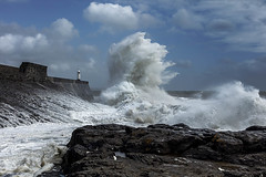 Stormy seas at Porthcawl Lighthouse (Jo Evans1 - off and on for a while) Tags: porthcawl lighthouse stormy weather crashing waves towering above