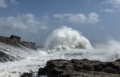 The bowling ball wave! (Jo Evans1 - off and on for a while) Tags: porthcawl lighthouse stormy weather crashing waves towering above