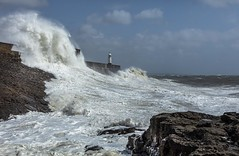Crashing waves (Jo Evans1 - off and on for a while) Tags: porthcawl lighthouse stormy weather crashing waves towering above