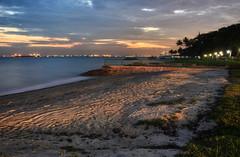 East Coast Sunset II (henriksundholm.com) Tags: landscape nature beach park eastcoastpark sand tracks ocean sea coast horizon sunset grass dusk color hdr singapore southeast asia