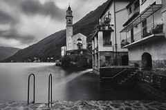 Brienno after a thunderstorm 1 (PascallacsaP) Tags: lagodicomo lario lombardia lombardy como lago lake water shore mountains mountainlake village italia italy alps longexposure breakthroughfilters breakthroughphotography ndfilter brienno brien ladder stairs quay hills forest lakecomo serene serenity church balcony balconies churchtower oldvillage waterfront thunderstorm blackandwhite bw monochrome dawn earlymorning houses walls comolake 10stop 10stopndfilter