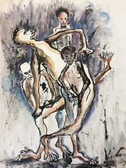 Madness (pastadimama) Tags: watercolor abstract art abstractart despare ink surreal painting aquarel figures people madness