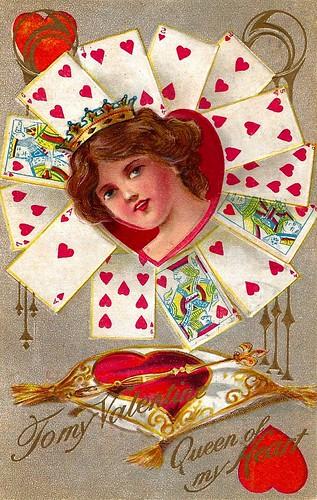 Vintage Valentine Postcard - To My Valentine, Queen Of My Heart, Fortune Valentine Series, Postmarked 1910