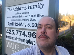 Day 2641: Day 85: Creepy? (knoopie) Tags: theaddamsfamily wadejamestheatre driftwoodplayers sign april12may5 2019 march iphone selfportrait picturemail doug knoop knoopie me 365days 365daysyear8 year8 365more day2641 day65