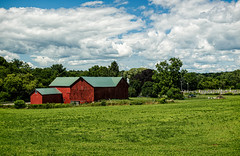 Standing Reminders of Simpler Days (LJS74) Tags: landscape newyorkstate fingerlakes ithaca upstatenewyork barn redbarn clouds sky grass field farm cemetery