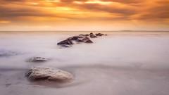 Dreamy Cotton Shores (Kurt Evensen) Tags: nature leefilter le rockyshore weather vestfold sea haze longexposure beach tønsberg sky seascape shore norway water