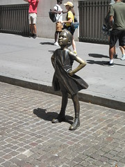 2019 Fearless Girl bronze sculpture Wall Street NYC 7259 (Brechtbug) Tags: 2019 fearless girl bronze sculpture by kristen visbal commissioned state street global advisors ssga the statue was installed march 7th 2017 anticipation international womens day depicting defiant four foot high located front new york stock exchange financial district manhattan city august 08102019 nyc young lady