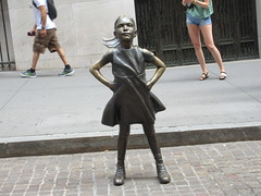 2019 Fearless Girl bronze sculpture Wall Street NYC 7278 (Brechtbug) Tags: 2019 fearless girl bronze sculpture by kristen visbal commissioned state street global advisors ssga the statue was installed march 7th 2017 anticipation international womens day depicting defiant four foot high located front new york stock exchange financial district manhattan city august 08102019 nyc young lady