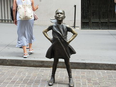 2019 Fearless Girl bronze sculpture Wall Street NYC 7275 (Brechtbug) Tags: 2019 fearless girl bronze sculpture by kristen visbal commissioned state street global advisors ssga the statue was installed march 7th 2017 anticipation international womens day depicting defiant four foot high located front new york stock exchange financial district manhattan city august 08102019 nyc young lady